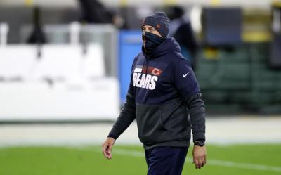 Chicago Bears head coach Matt Nagy looks on during warmups for a game against the Green Bay Packers at Lambeau Field in Green Bay, Wisconsin, on Sunday, Nov. 29, 2020.