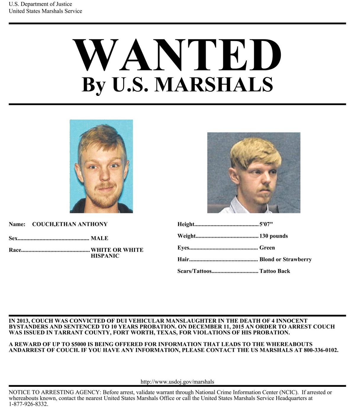 US Marshals release Wanted poster for affluenza teen offer – Criminal Wanted Poster