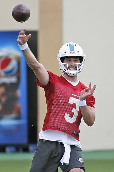 Miami Dolphins quarterback Josh Rosen (3) throws during minicamp at the Baptist Health Training Facility at Nova Southeastern University in Davie, Fla., on Tuesday, June 4, 2019.