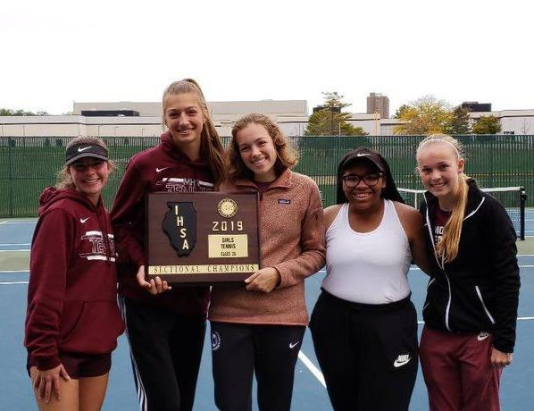 Moline tennis team with 2A Pekin Sectional title