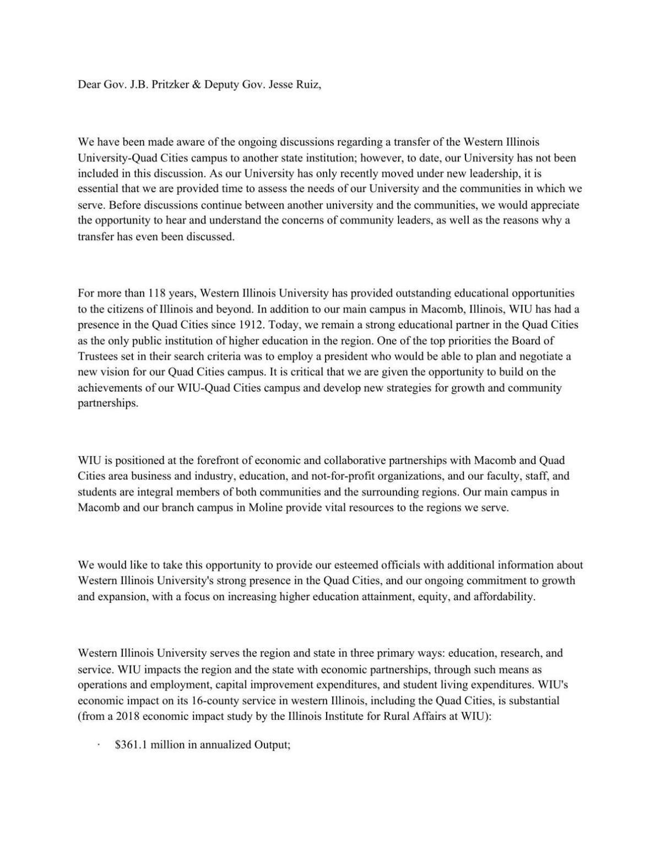 WIU letter to Gov. Pritzker