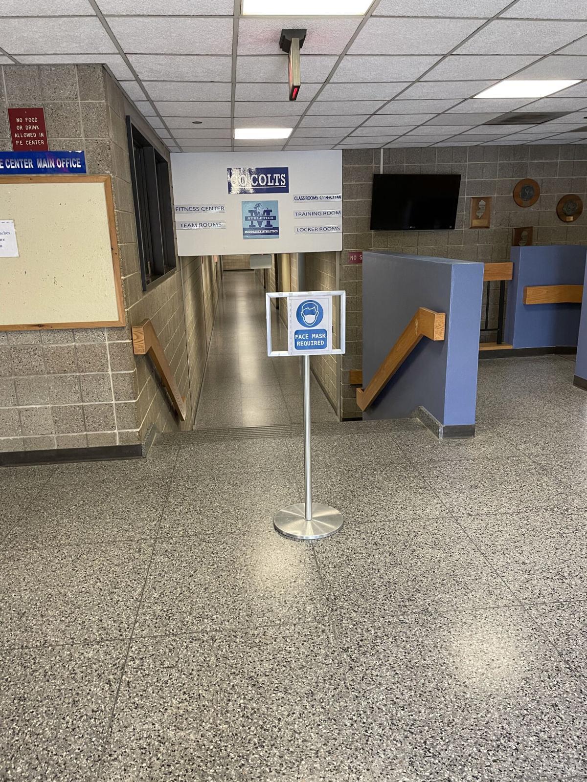 Warning Sign inside Physical Education Center