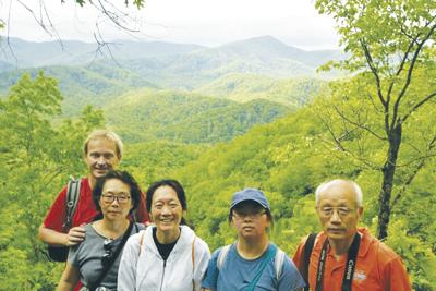 Wang family at Smoky Mountain National Park