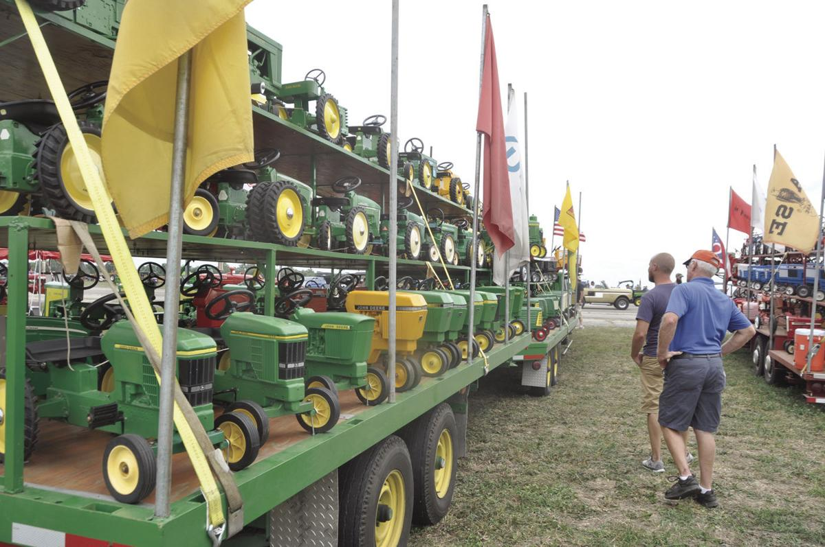 Pedal tractors on trailer