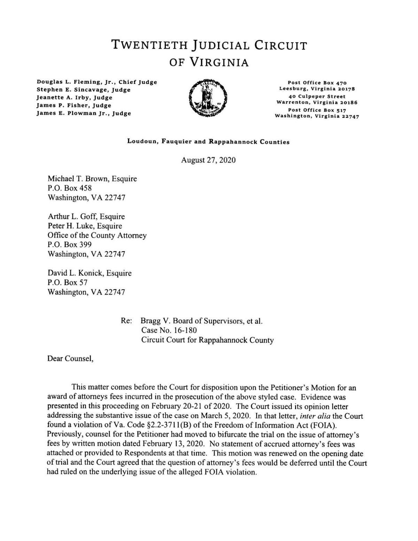 Bragg v. BOS opinion letter