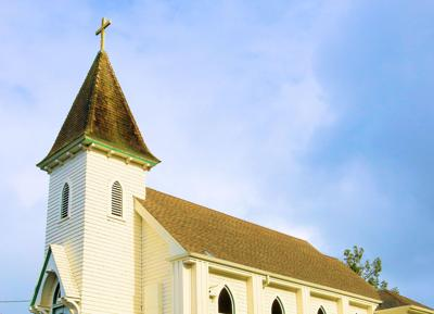 January 15, 2020 In Petrolia, Ca: Historical Church Of St Patrick Where People Pray And Attend Chur