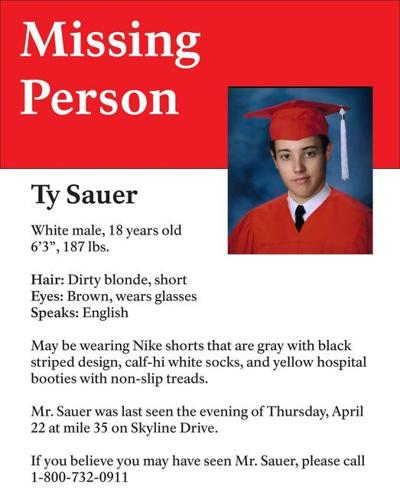 Ty Sauer missing poster