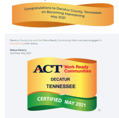 Decatur County and Riverside High School earn Work Ready Community Certification