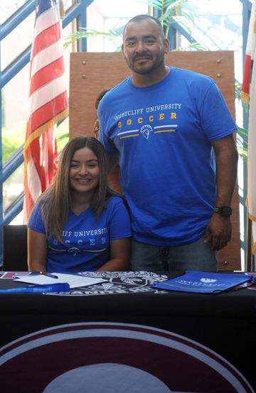 Destiny Rodriguez and coach