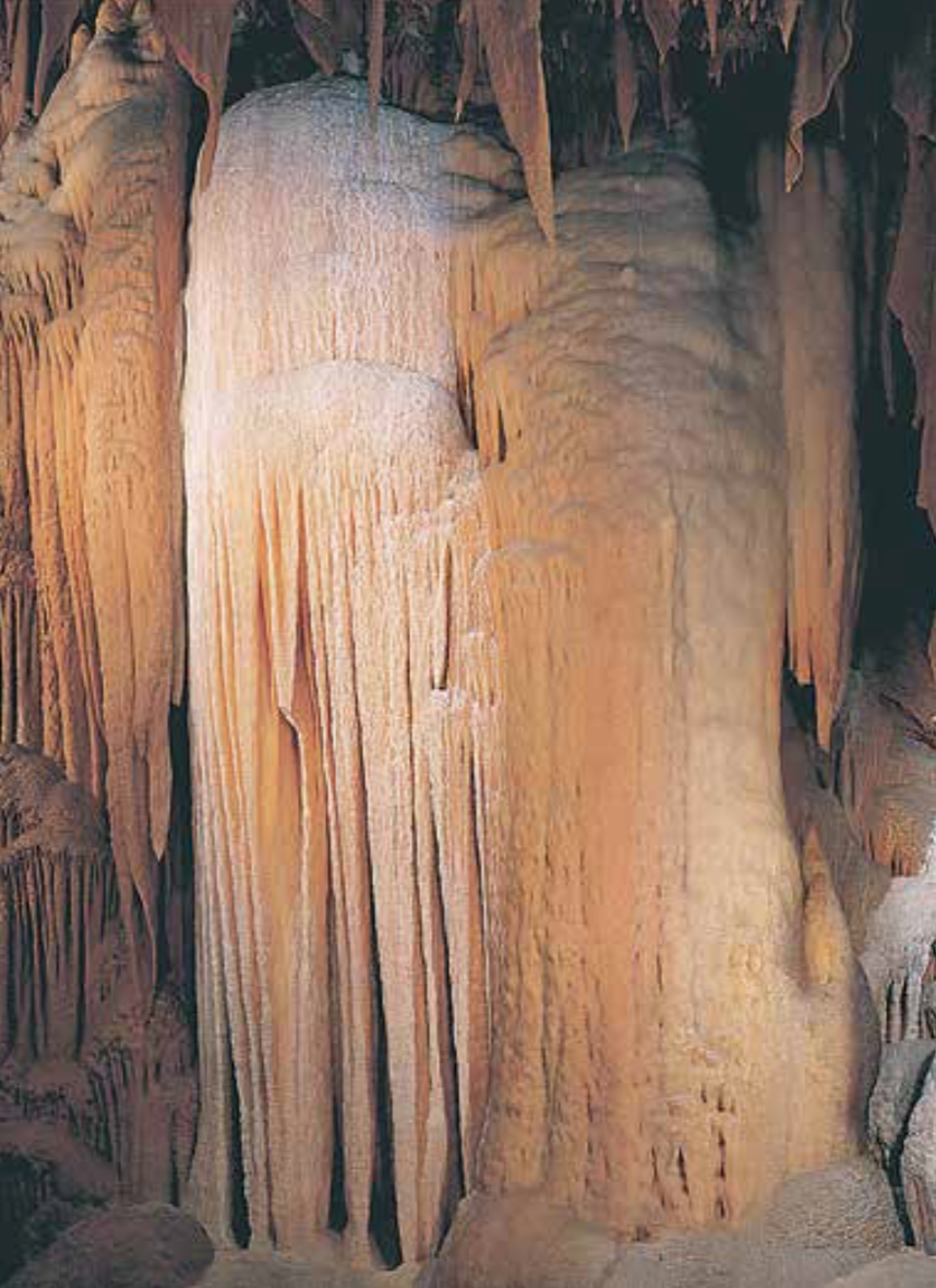 Shenandoah Caverns is Virginia's only commercial cave with an elevator. It takes visitors into the cave where they see formations such as the Crystal Cascades.