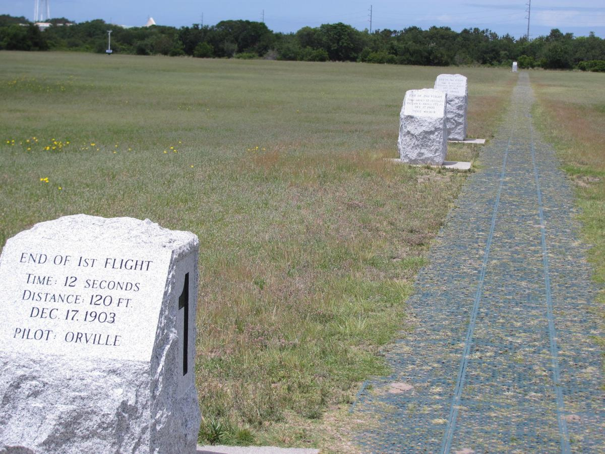 Stone markers show where the earliest successful flights by the Wright brothers touched down.