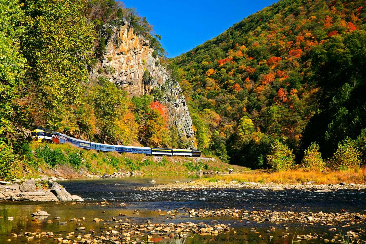 Passengers on the Fall Foliage Special get an eyeful of beautiful scenery riding from Petersburg to South Moorefield, W.Va.