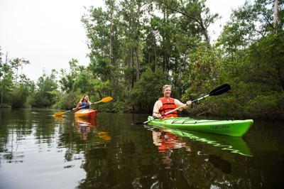 Book a kayak tour through Kitty Hawk Kites to explore a different side of the Outer Banks.