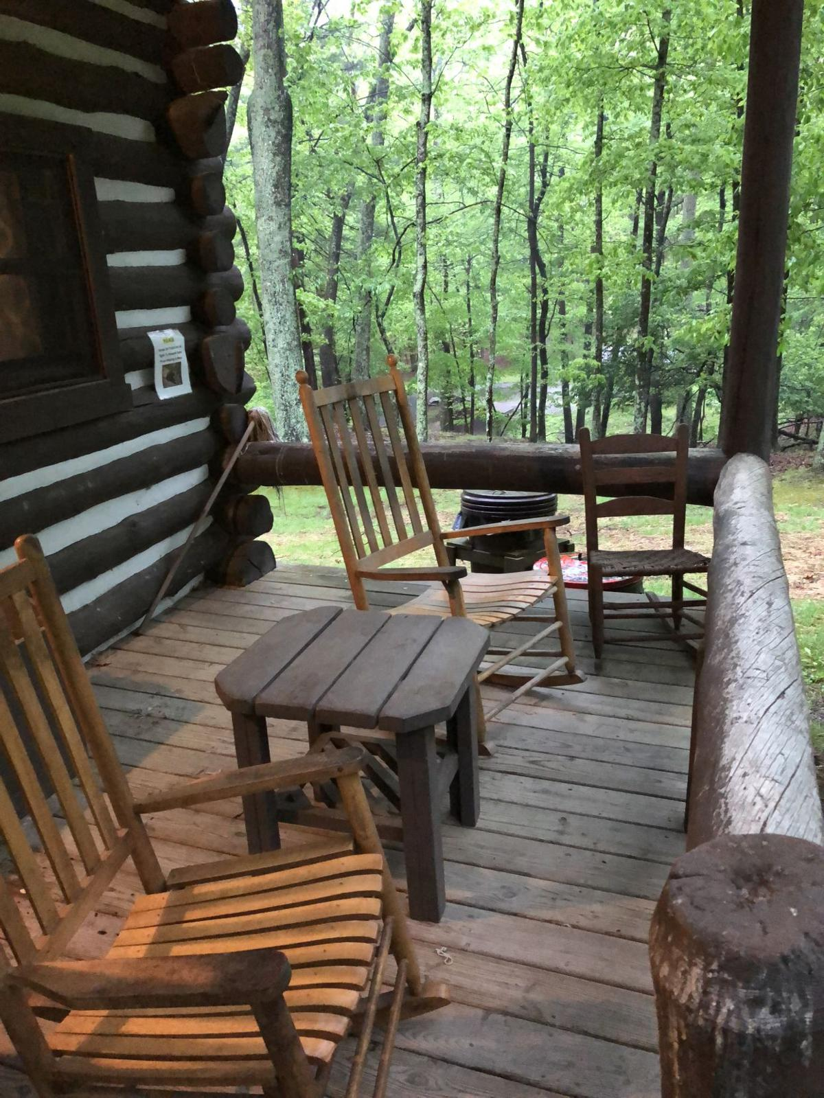 The cabins feature prime porch sitting.