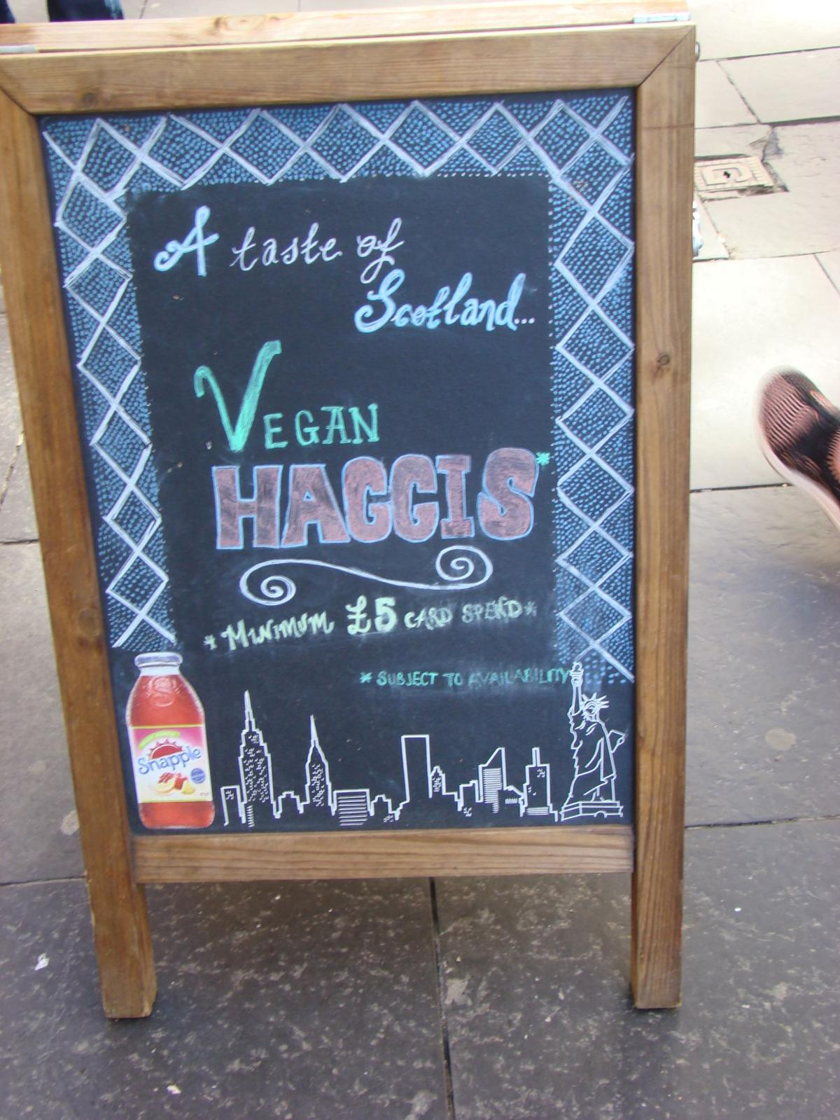 Writer Reed Hellman and friend Mike were able to try Scotland's national dish, Haggis.