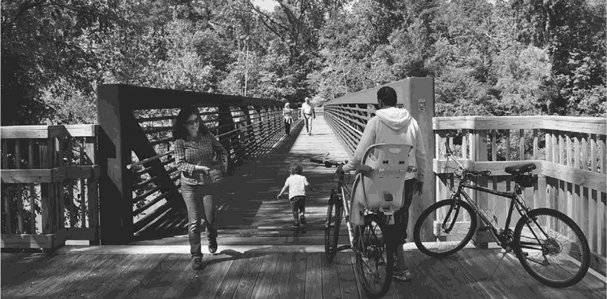 Bike or walk the scenic Clayton River Walk, part of the 1,000-mile Mountains-to-Sea Trail.
