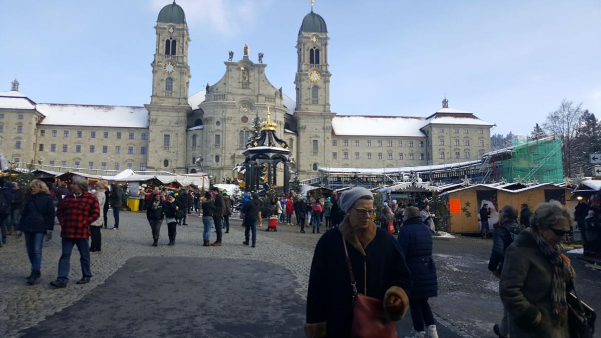 The Christmas Market at the Abbey of Our Lady of Einsiedeln, Switzerland, is a favorite stop for international travelers.