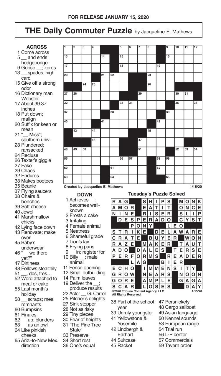 Crosswords, January 15, 2020