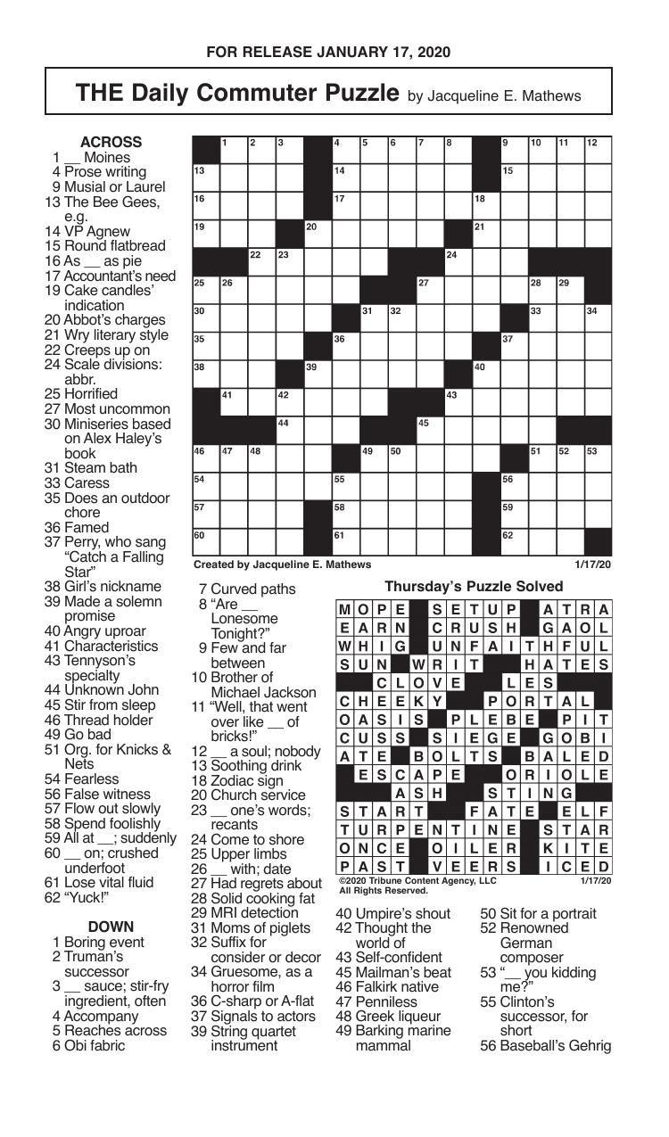 Crosswords, January 17, 2020