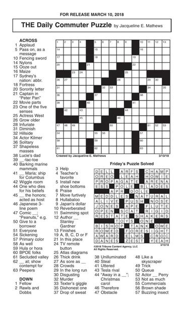 Crosswords March 10 2018 Crosswords Redandblack Com