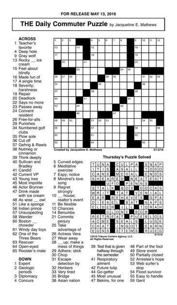 Crosswords May 13 2016