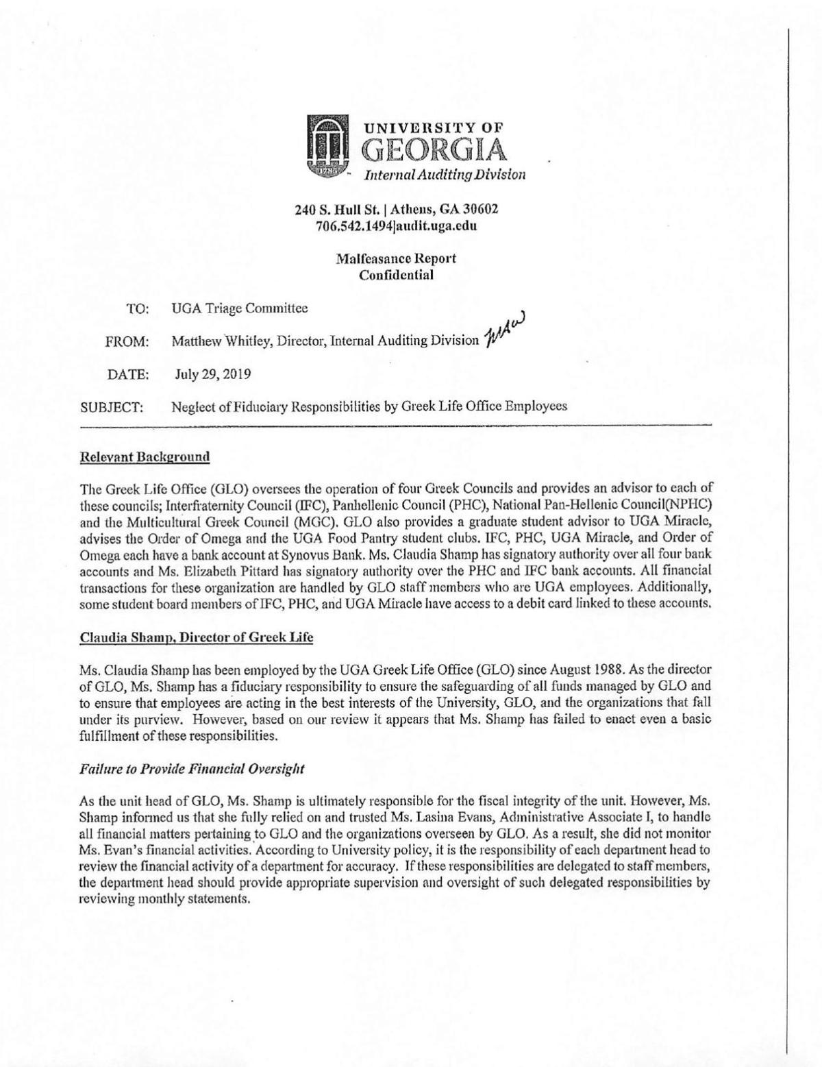 UGA IAD July 29 Malfeasance Report