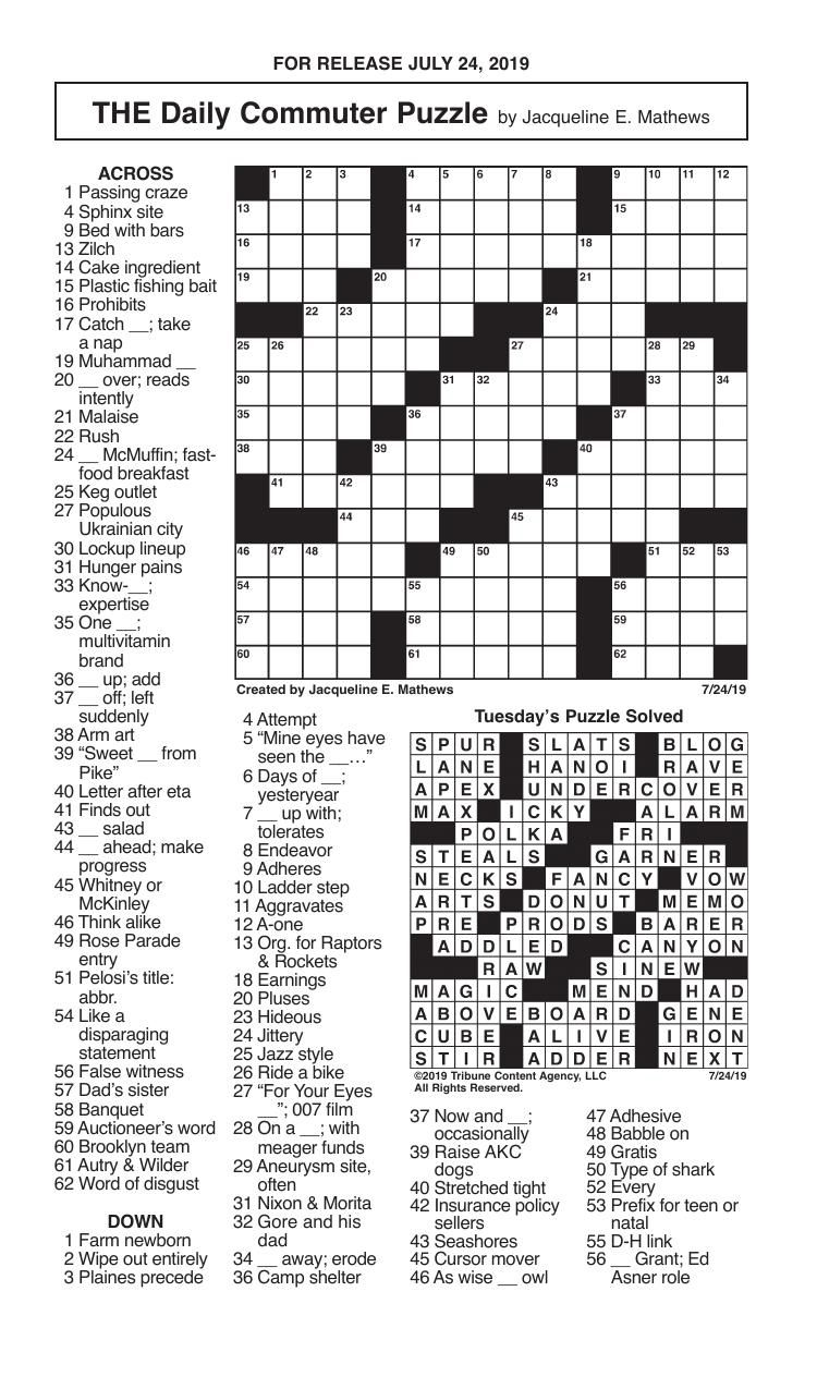 Crosswords, July 24, 2019