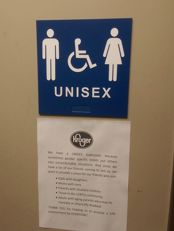 Athens Krogers Unisex Bathroom Sign Goes Viral Athensnews - Unisex bathroom sign
