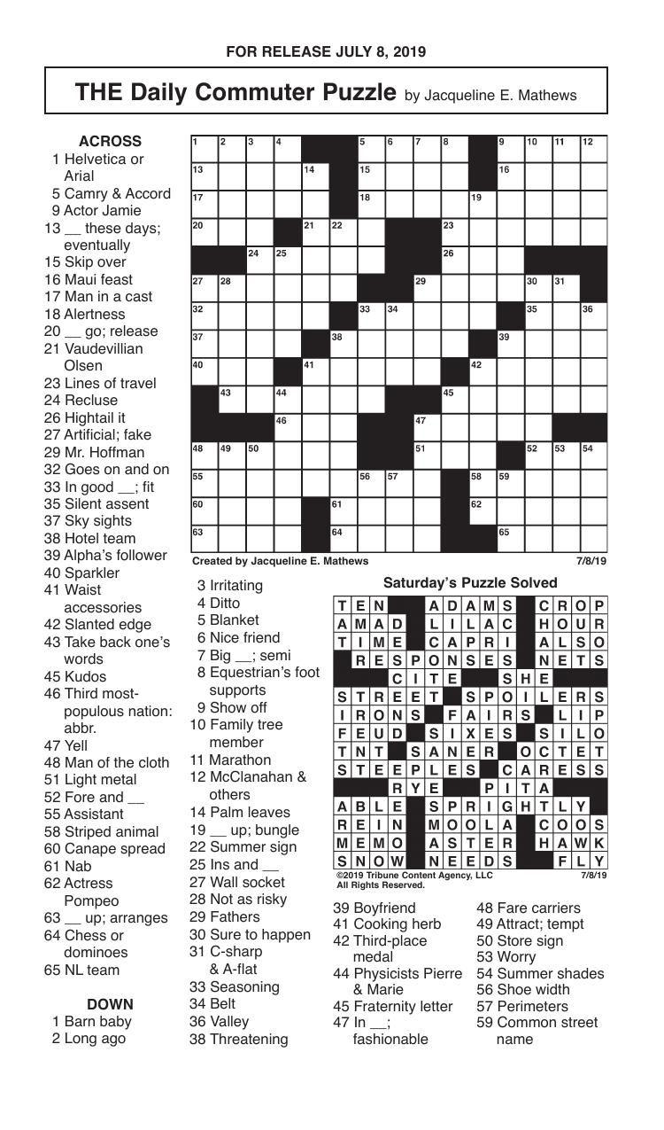 Crosswords, July 8, 2019