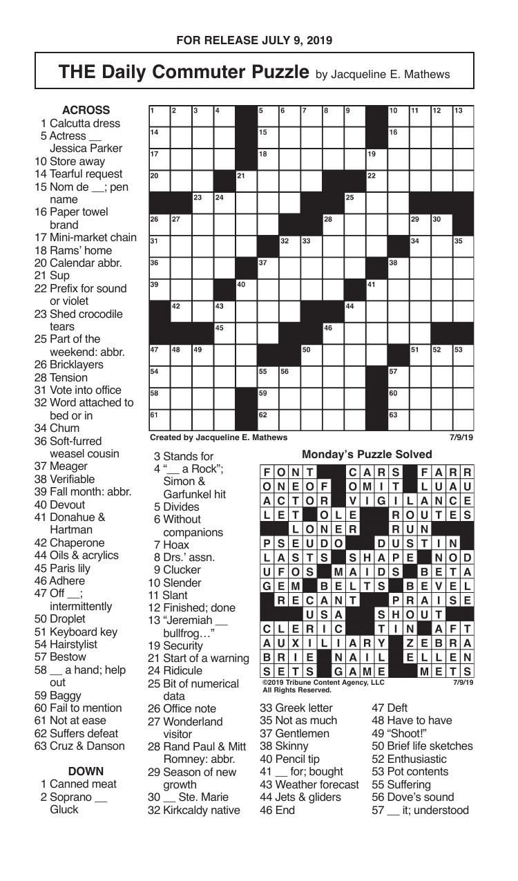 Crosswords, July 9, 2019