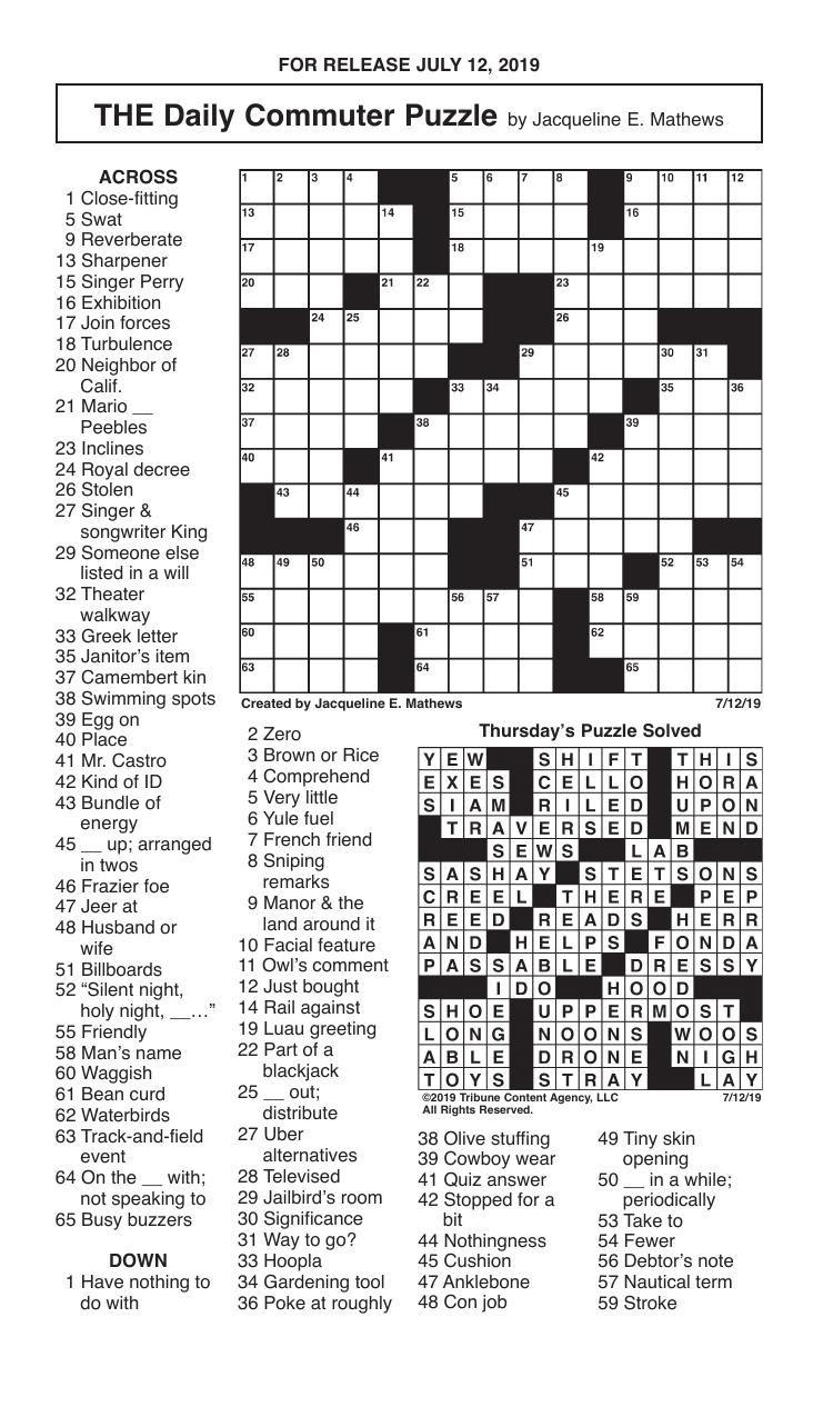 Crosswords, July 12, 2019