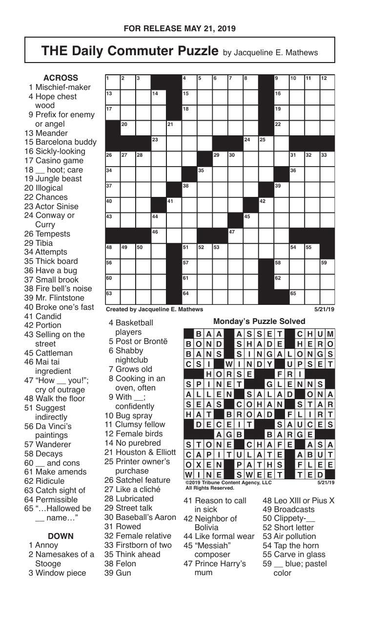 Crosswords, May 21, 2019