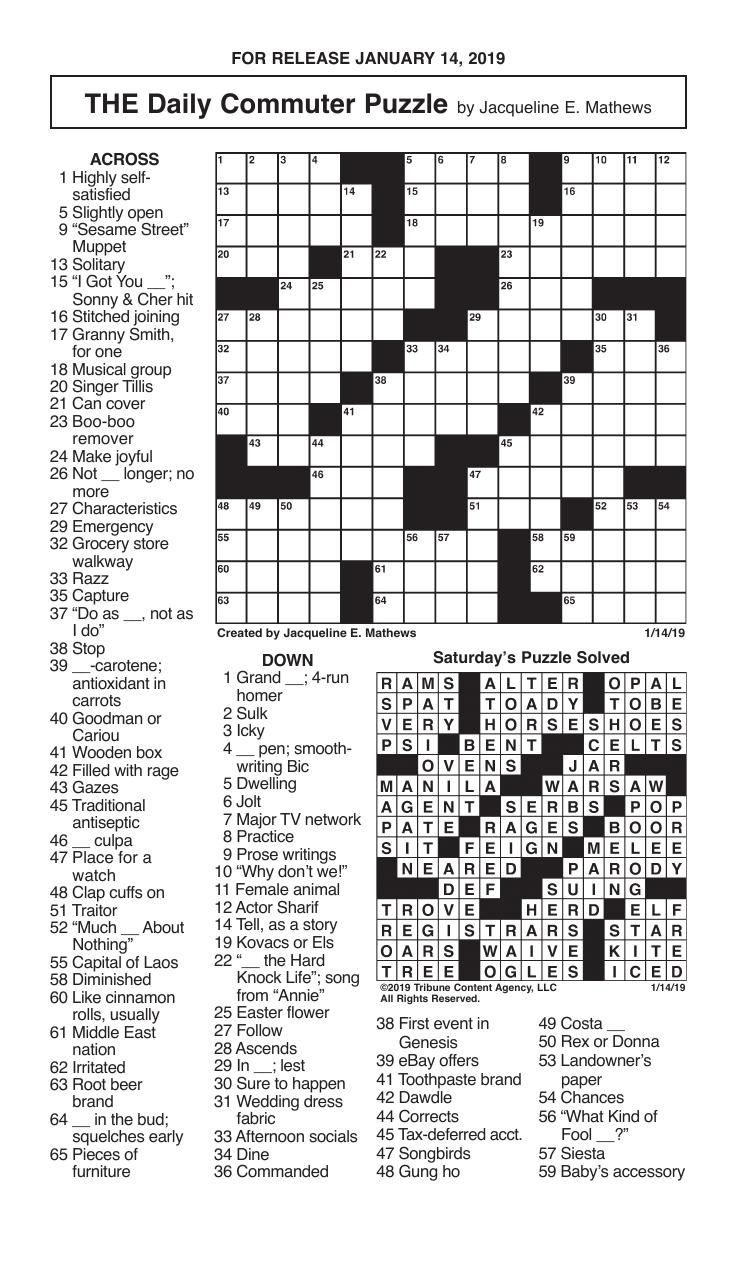 Crosswords January 14 2019 Crosswords Redandblack Com