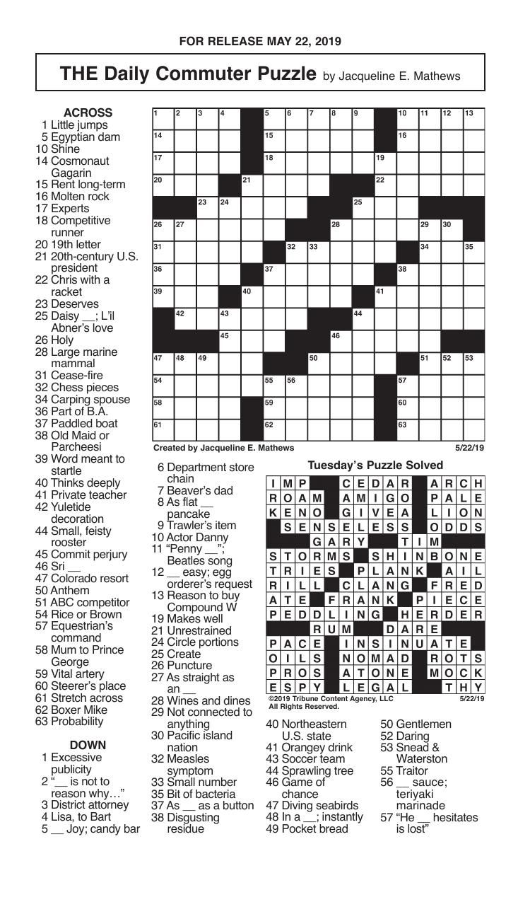 Crosswords, May 22, 2019