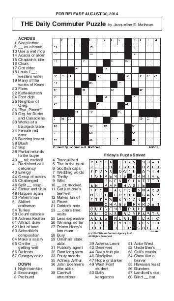 Crossword August 30pdf Redandblackcom
