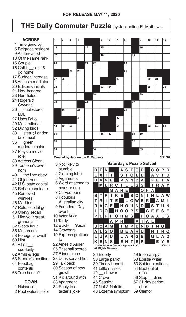 Crosswords, May 11, 2020