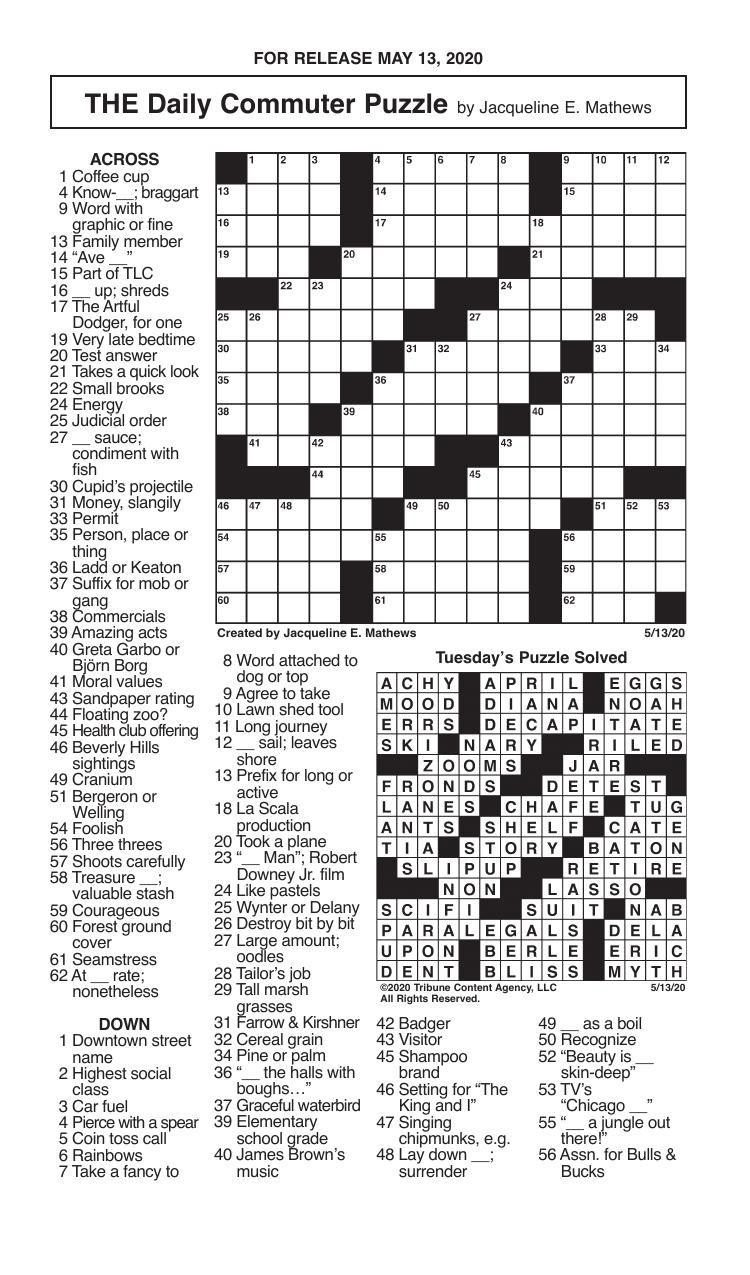 Crosswords, May 13, 2020
