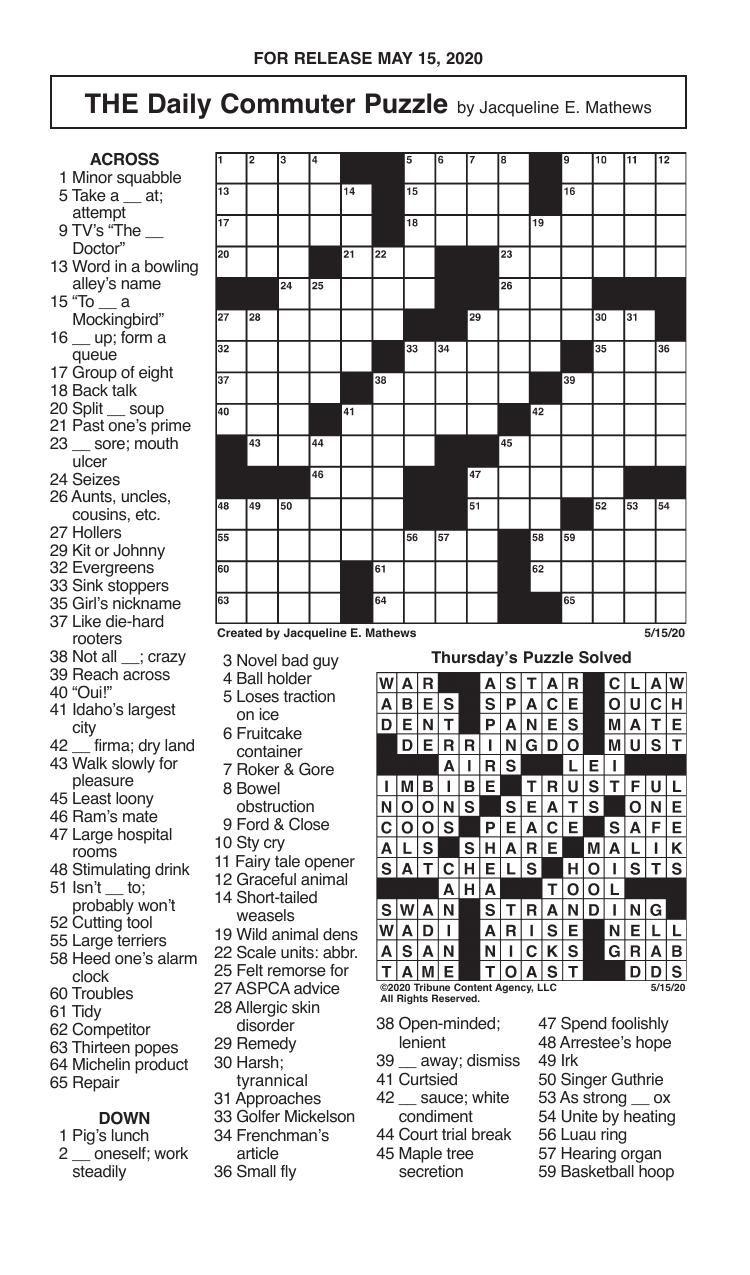 Crosswords, May 15, 2020
