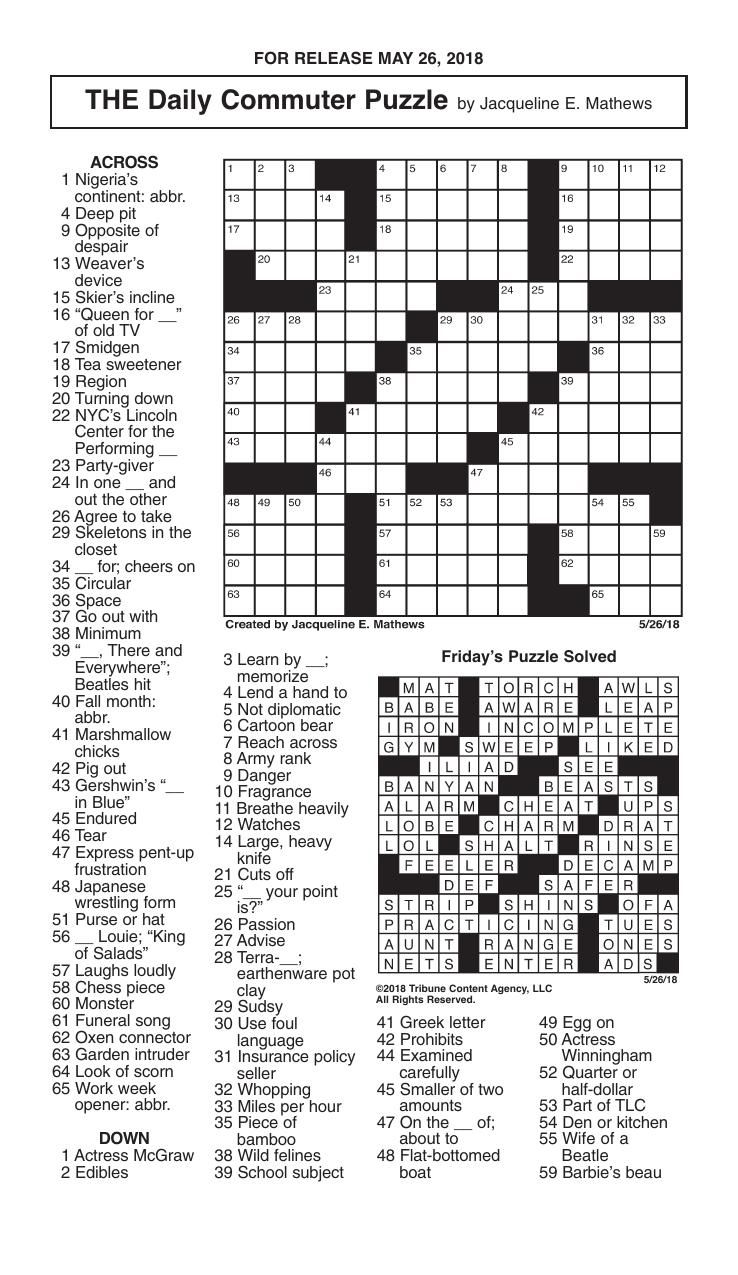 Free Printable Daily Crossword Puzzles Mirroreyes