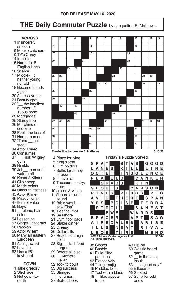 Crosswords, May 16, 2020