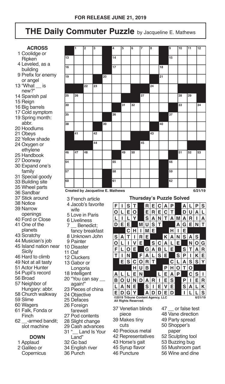 Crosswords, June 21, 2019