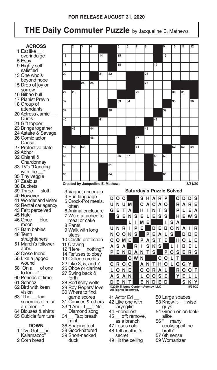 Crosswords, August 31, 2020