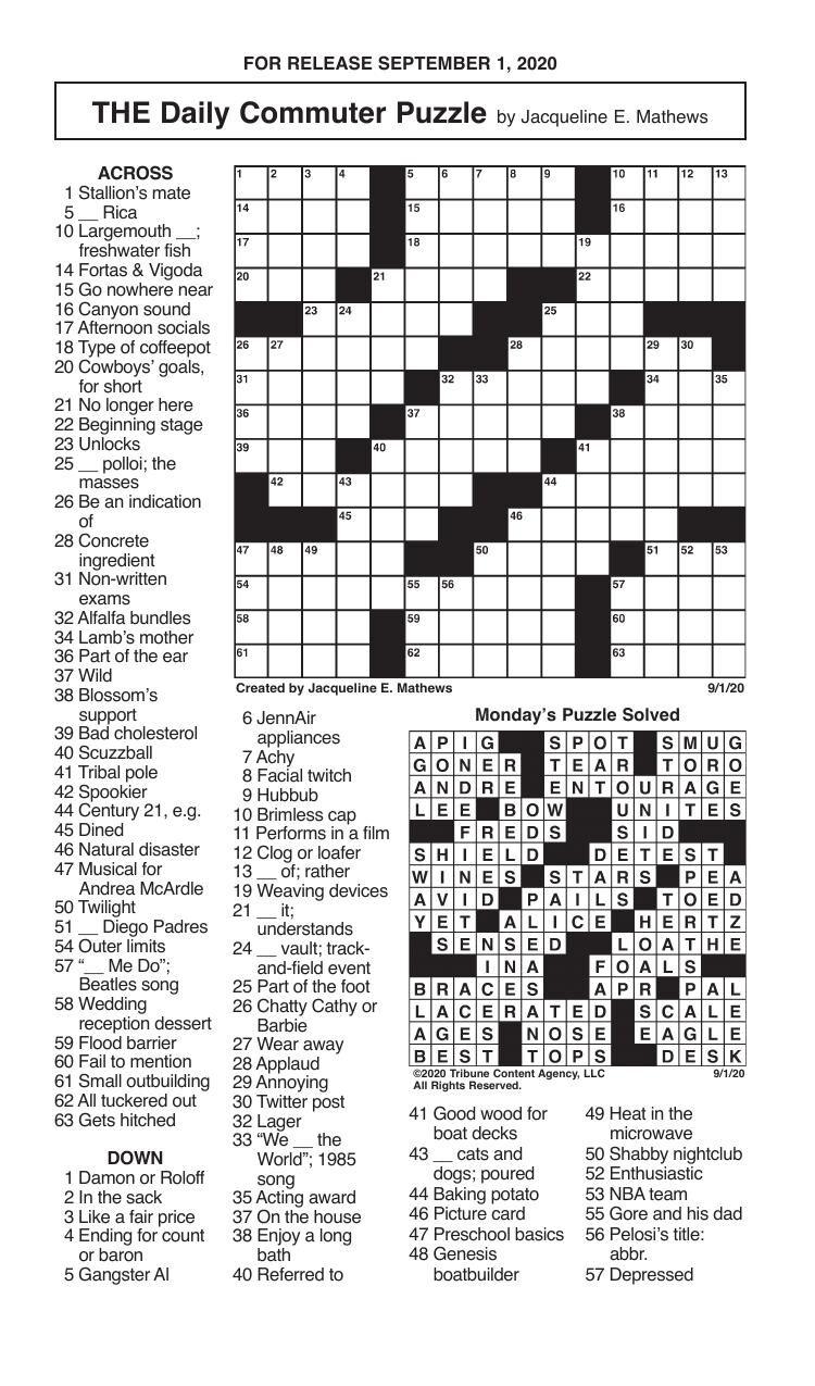 Crosswords, September 1, 2020