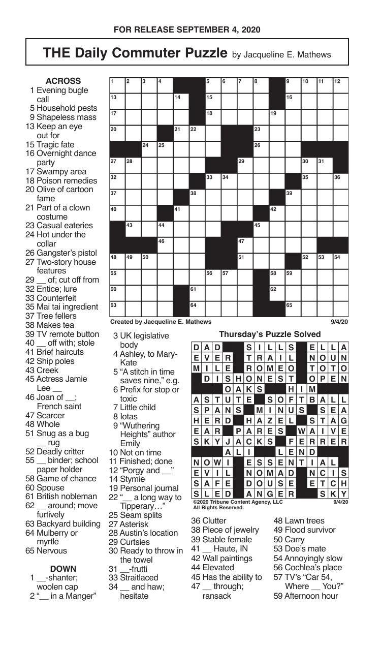 Crosswords, September 4, 2020