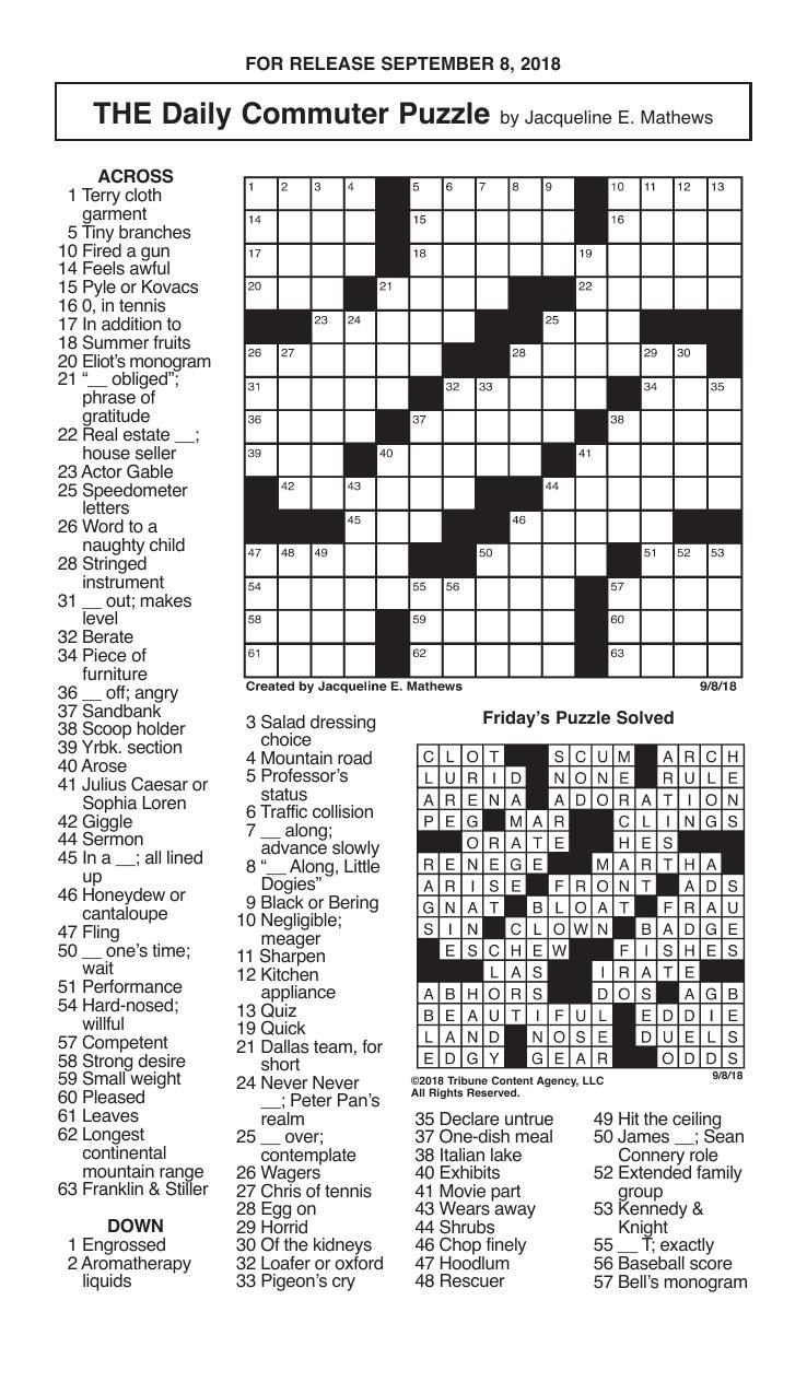 Crosswords September 8 2018 Crosswords Redandblack Com