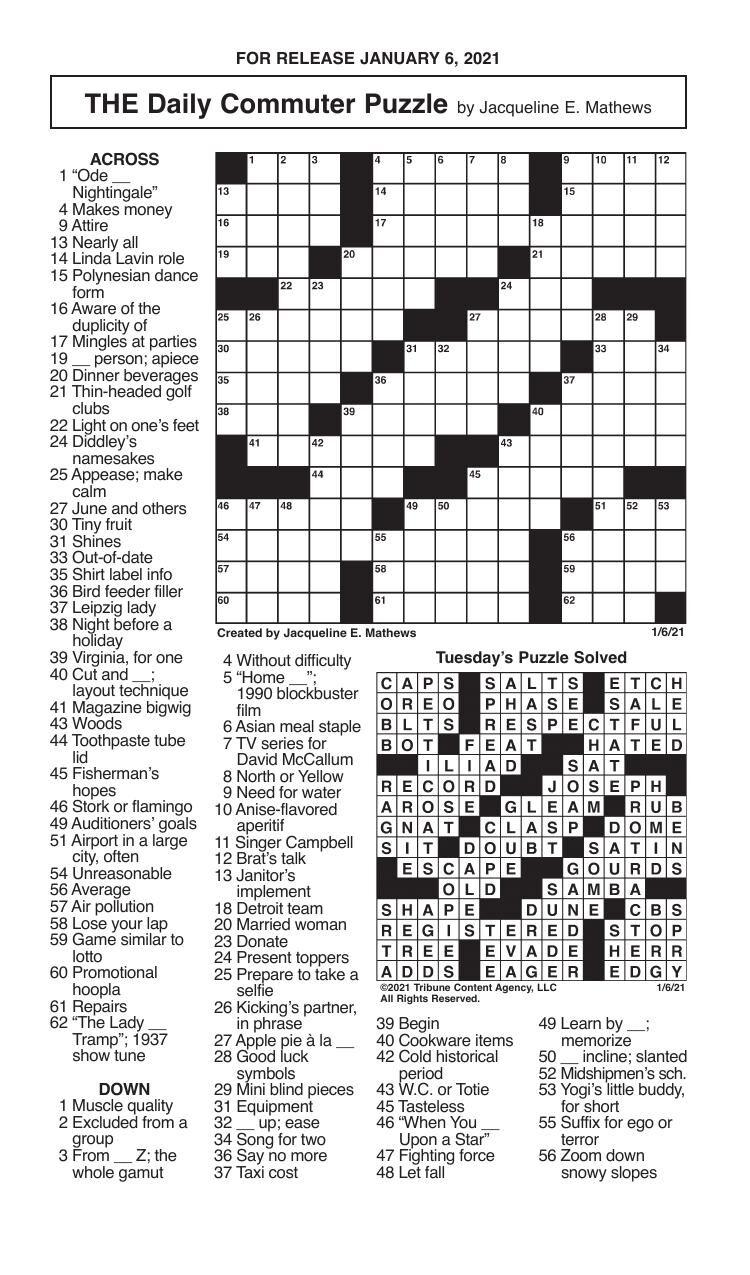Crosswords, January 6, 2021