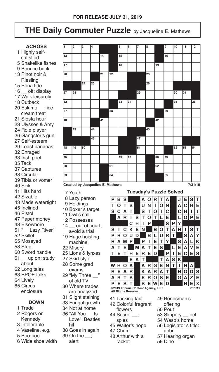 Crosswords, July 31, 2019