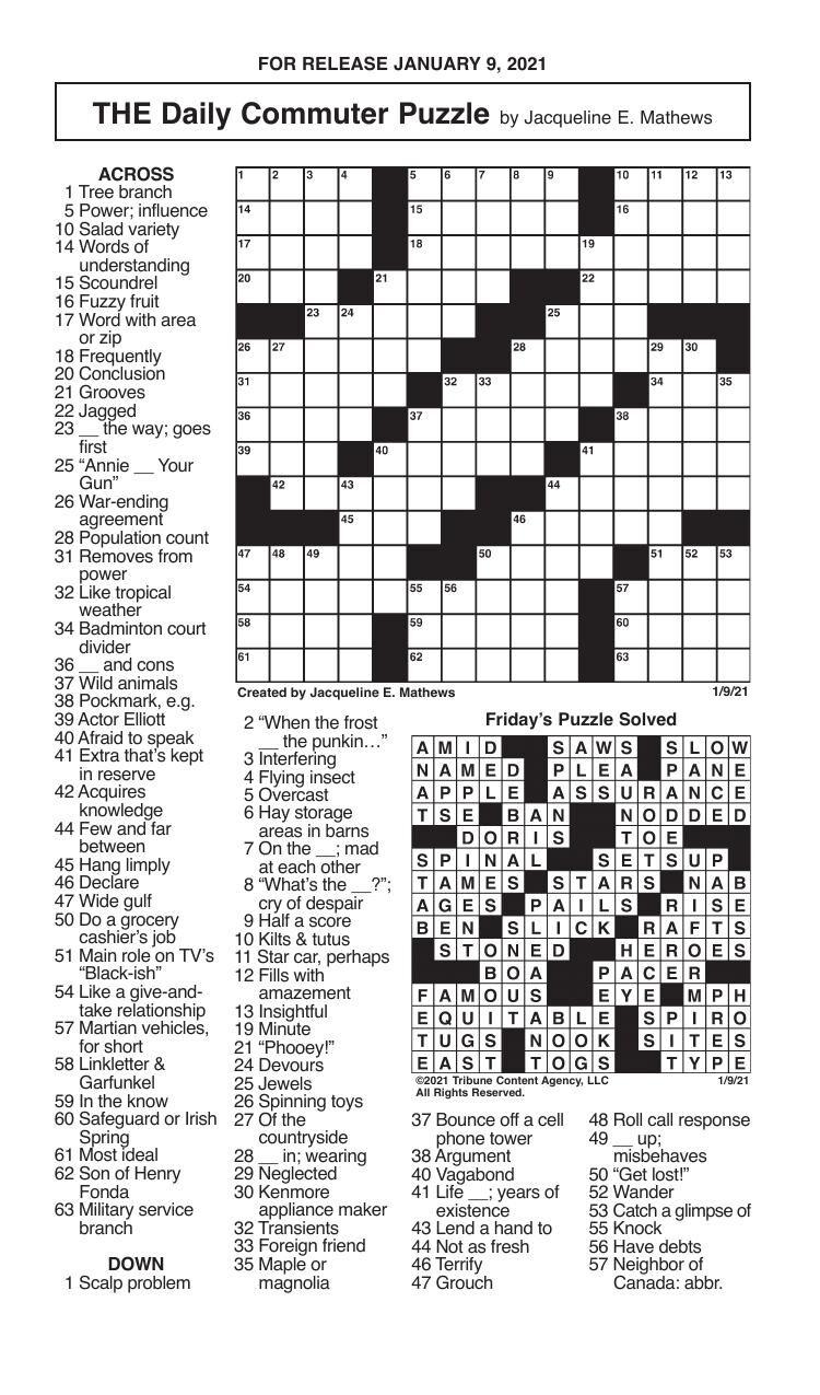 Crosswords, January 9, 2021
