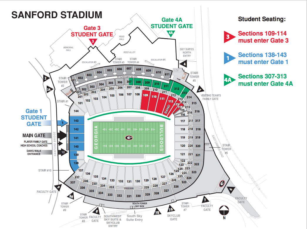 Measures taken to control student crowds at Sanford Stadium