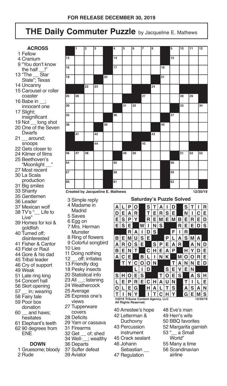 Crosswords, December 30, 2019